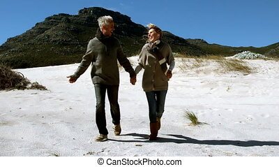 Carefree mature couple running holding hands on beach in...