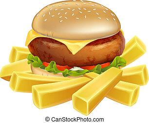 hambúrguer, lascas, ou, francês, frita