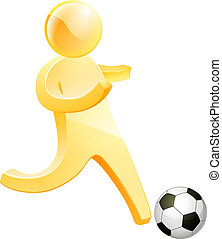 Soccer football person about to kick a soccer or football
