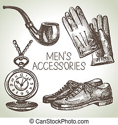 Sketch gentlemen accessories. Hand drawn men illustrations...