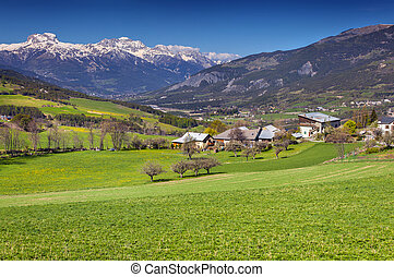 Alpine meadows near the village Uvernet-Fours, Alps, France...