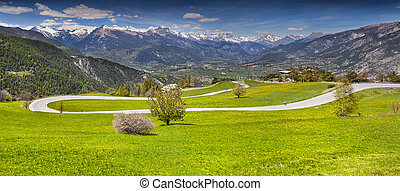 View of the village Guillestre of the pass Col de Vars....