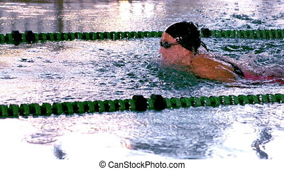Fit female swimmer doing the butterfly stroke in swimming...