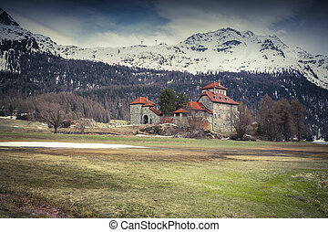 Villa on Lake Silvaplana, Alps, Switzerland - Castle on Lake...