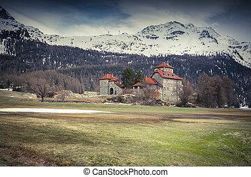 Villa on Lake Silvaplana, Alps, Switzerland - Castle on Lake...