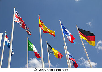 International Flags with blue sky.