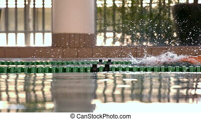 Fit swimmer doing the front stroke in the swimming pool in...