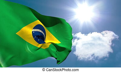 Brazil national flag waving on blue sky background with sun...