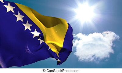 Bosnia national flag waving on blue sky background with sun...