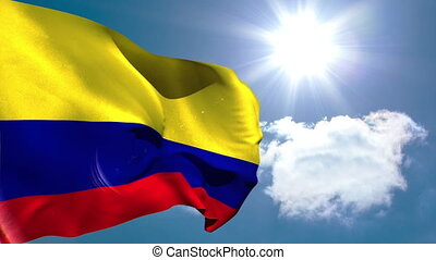 Colmbia national flag waving on blue sky background with sun...