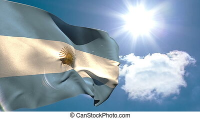 Argentina national flag waving on blue sky background with...