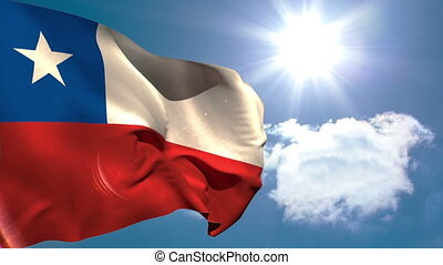 Chile national flag waving on blue sky background with sun...
