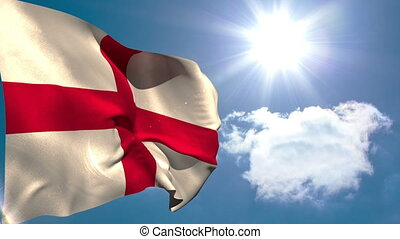 England national flag waving on blue sky background with sun...