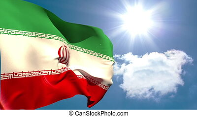 Iran national flag waving on blue sky background with sun...