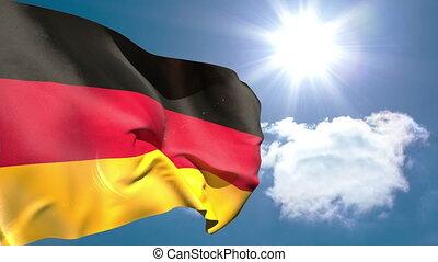 German national flag waving