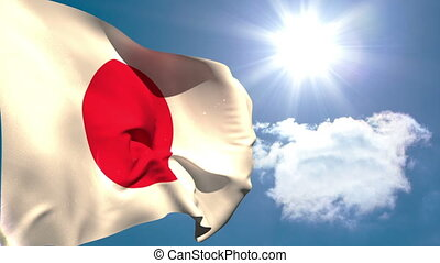 Japan national flag waving on blue sky background with sun...