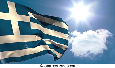 Greek national flag waving on blue sky background with sun...