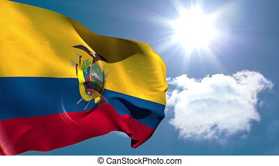 Ecuador national flag waving on blue sky background with sun...