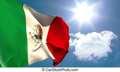 Mexican national flag waving on blue sky background with sun...