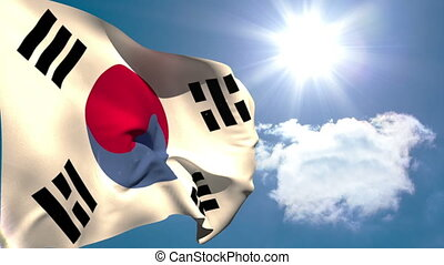 Korea republic national flag waving on blue sky background...