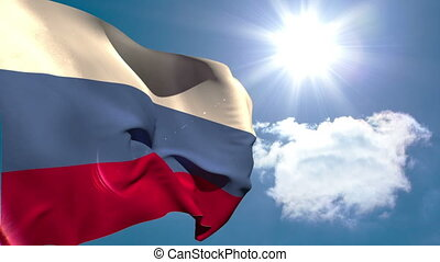 Russia national flag waving on blue sky background with sun...