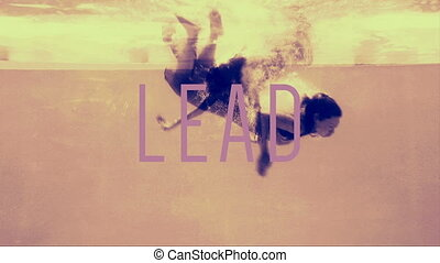 Women in evening gowns diving into pool with lead text in...
