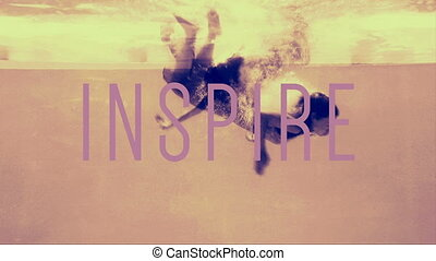 Women in evening gowns diving into pool with inspire text in...