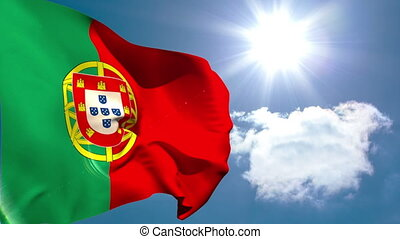 Portugal national flag waving on blue sky background with...