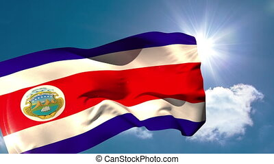 Costa rica national flag waving