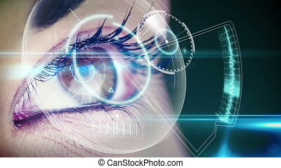 Eye looking at futuristic interface showing laboratory clips...