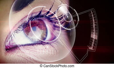 Eye looking at futuristic interface showing music clips on...