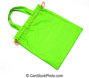 green fabric bag isolated on white background