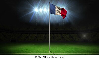 France national flag waving on flagpole on football pitch...