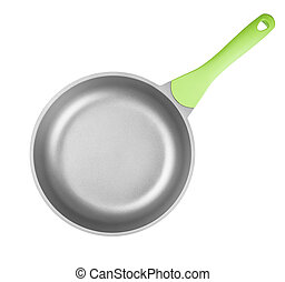 Frying pan or skillet top view isolated on white with clipping p