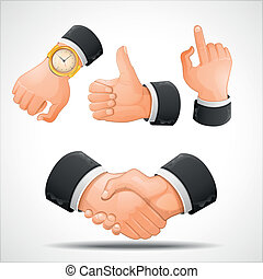 handshake and hand gestures vector