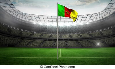 Cameroon national flag waving on flagpole in football...
