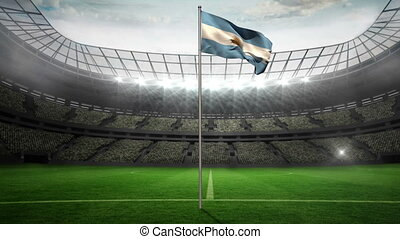 Argentina national flag waving on flagpole in football...