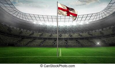 England national flag waving on fla