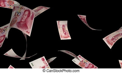 Falling Yuan (Loop Matte) - Falling Chinese Yuan bills (100...