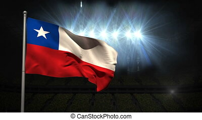 Chile national flag waving on flagpole on black background...