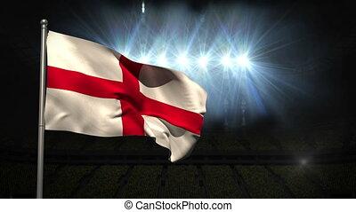 England national flag waving on flagpole on black background...