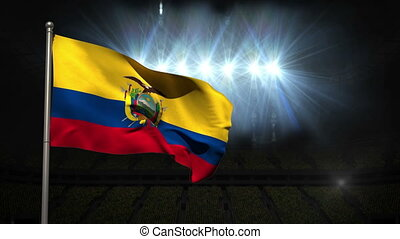 Ecuador national flag waving on flagpole on black background...