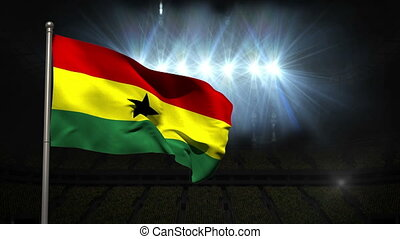 Ghana national flag waving on flagpole on black background...