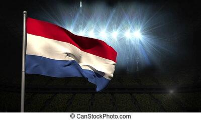 Netherlands national flag waving on