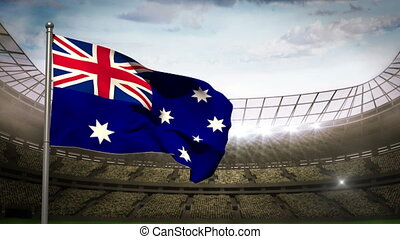 Australia national flag waving on s - Australia national...