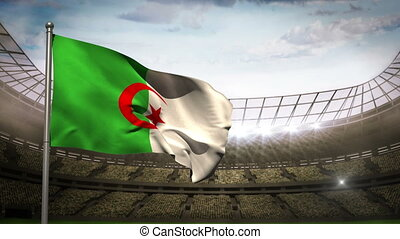 Algeria national flag waving in sta - Algeria national flag...