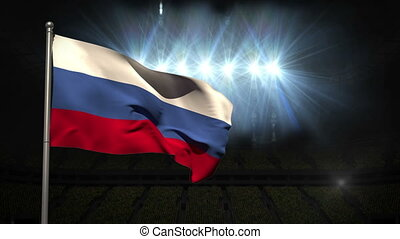 Russia national flag waving on flagpole on black background...