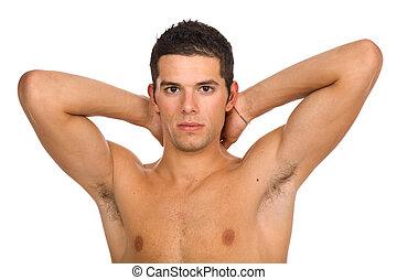 desnudo, hombre