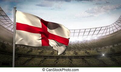 England national flag waving on sta