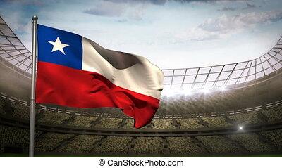 Chile national flag waving on stadi - Chile national flag...